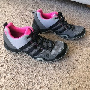 Adidas Gray/Black/pink running shoes, size 8
